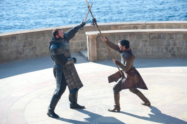 The Mountain (Hafthor Julius Bjornsson) fights the Viper (AKA Oberyn, played by Pedro Pascal) in HBO's Game of Thrones Season 4, Episode 8 (entitled The Mountain and the Viper)
