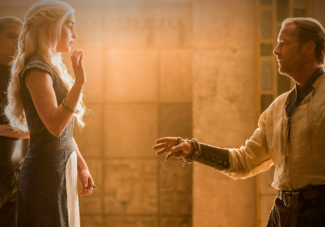 Daenerys Targaryen (Emilia Calrke) denounces Ser Friendzone Jorah (Iain Glen) in HBO's Game of Thrones Season 4, Episode 8 (entitled 'The Mountain and the Viper')