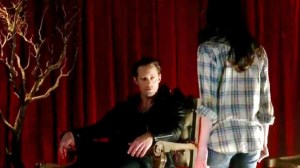 Alexander Skarsgard stars as Eric Northman and Amelia Rose Blaire stars as Willa Burrell in HBOs True Blood Season 7 Episode 5 Lost Cause