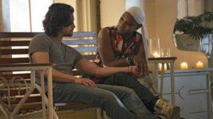James Nathan Parsons and Lafayette Reynolds Nelsan Ellis get cosy in HBOs True Blood Season 7 entitled Lost Cause previously titled Return to Oz
