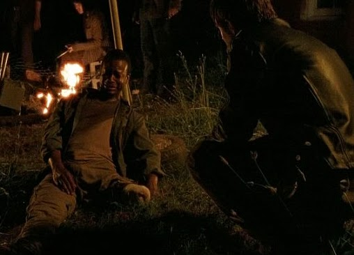 Bob becomes a shishkaBOB on Gareths BoBq in Episode 2 entitled Strangers of AMCs The Walking Dead Season 5