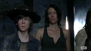 Maggie Lauren Cohan gets some cleavage in Season 5 Episode 1 entitled No Sanctuary of AMCs The Walking Dead
