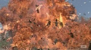 Zombie explosion in Episode 1 (entitled No Sanctuary) Season 5 of AMC's The Walking Dead