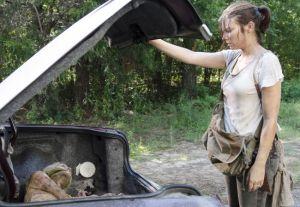Maggie (Lauren Cohan) finds life hard in Episode 10 (entitled Them) Season 5 of AMC's The Walking Dead