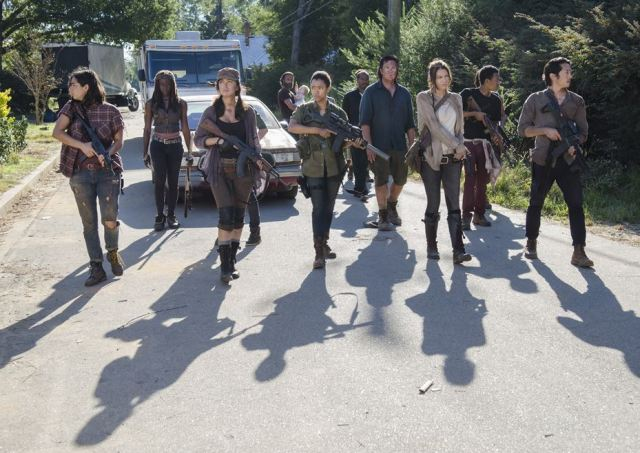 Rick's gang enter the Alexandria Safe Zone in Episode 12 (entitled Remember) Season 5 of AMC's The Walking Dead