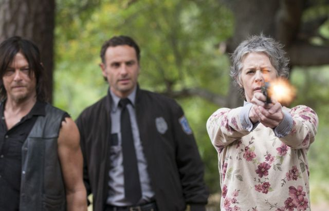 Carol (Melissa McBride) gets scary in Episode 13 (entitled Forget) Season 5 of AMC's The Walking Dead
