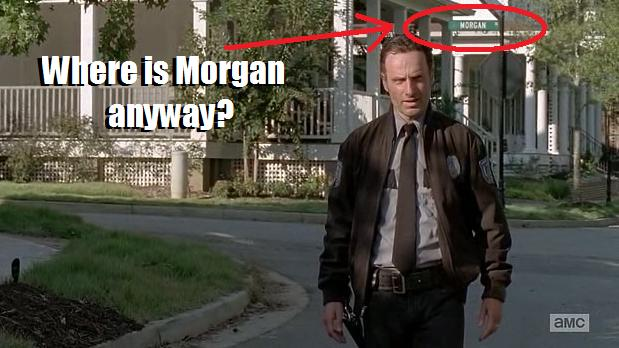 Morgan (Lennie James) easter egg in Episode 13 (entitled Forget) Season 5 of AMC's The Walking Dead