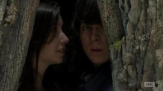 TWD S05E15 Carl & Erin sitting in a tree...