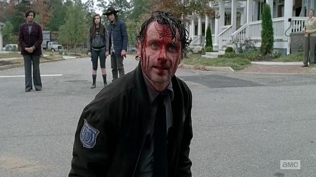 TWD S05E15 Rick flips out