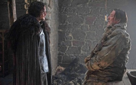 Jon Snow (Kit Harrington) talks to Mance Ryder in Episode 1 (entitled The Wars to Come) Season 5 of HBO's Game of Thrones