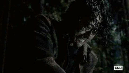 Glenn (Stephen Yeun) suffers in Episode 16 (entitled Conquer) Season 5 of AMC's The Walking Dead