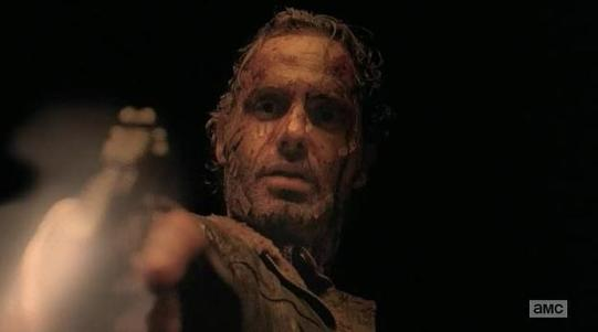 Rick (Andrew Lincoln) takes care of things in Episode 15 (entitled Conquer) Season 5 of AMC's The Walking Dead
