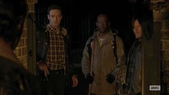 That awkward moment when Rick (Andrew Lincoln) is crazier than Morgan (Lennie James) in Episode 15 (entitled Conquer) Season 5 of AMC's The Walking Dead