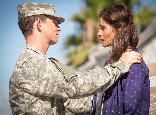 Shawn Hatosy as Corporal Andrew Adams and Mercedes Mason as Ofelia - Fear The Walking Dead _ Season 1, Episode 5 - Photo Credit: Justina Mintz/AMC