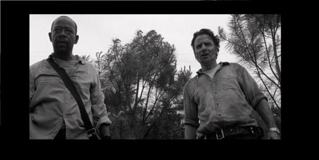 AMC's The Walking Dead Season 6 Episode 1 Black and White flashback Morgan and Rick border