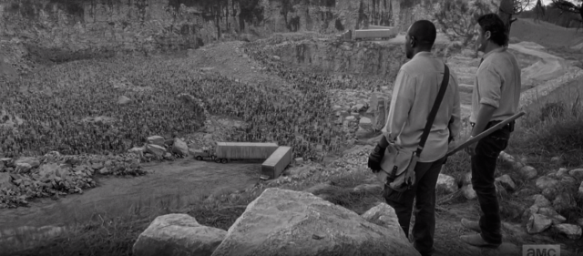AMC's The Walking Dead Season 6 Episode 1 Black and White flashback the quarry