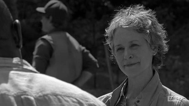 Melissa McBride stars as Carol in season 6 Episode 1 of AMC's The Walking dead