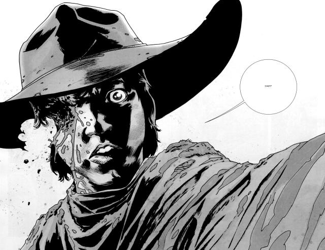 Carl loses an eye in the comic book version of The Walking Dead