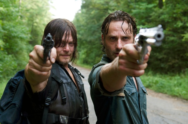 Andrew Lincoln as Rick Grimes and Norman Reedus as Daryl Dixon - The Walking Dead _ Season 6, Episode 10