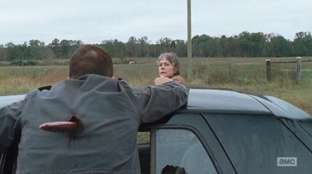 "The Walking Dead Season 6 Episode 15 ""East"" Carol stakes a guy"