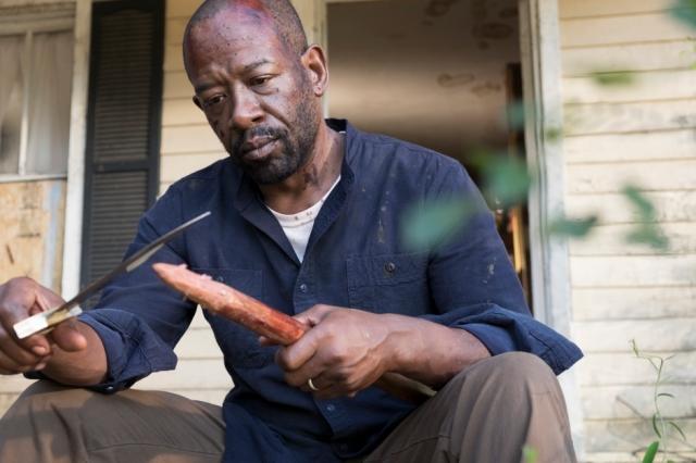 AMC's 'The Walking Dead,' Season 7, Episode 13, Bury Me Here, Morgan sharpens his staff